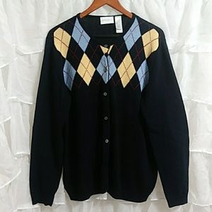 LIZ CLAIBORNE Cotton Button Down Cardigan LG